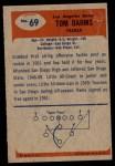 1955 Bowman #69  Tom Dahms  Back Thumbnail