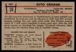 1953 Bowman #26  Otto Graham  Back Thumbnail