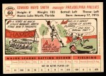 1956 Topps #60  Mayo Smith  Back Thumbnail