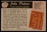 1955 Bowman #97  Johnny Podres  Back Thumbnail