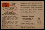 1954 Bowman #106  Billy Stone  Back Thumbnail