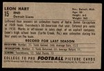 1952 Bowman Large #15  Leon Hart  Back Thumbnail