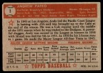 1952 Topps #1  Andy Pafko  Back Thumbnail