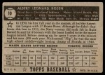 1952 Topps #10  Al Rosen  Back Thumbnail