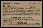 1952 Bowman Large #60  Ed McColl  Back Thumbnail