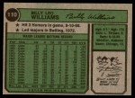 1974 Topps #110  Billy Williams  Back Thumbnail