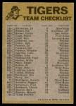 1974 Topps Red Team Checklist   Tigers Team Checklist Back Thumbnail