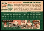 1954 Topps #105  Andy Carey  Back Thumbnail
