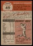 1953 Topps #49  Faye Throneberry  Back Thumbnail