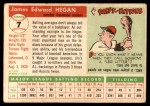 1955 Topps #7  Jim Hegan  Back Thumbnail