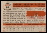 1956 Topps #85  Joe Scudero  Back Thumbnail
