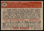 1952 Topps #217  George Stirnweiss  Back Thumbnail