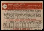 1952 Topps #330  Turk Lown  Back Thumbnail