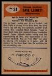 1955 Bowman #31  Dave Leggett  Back Thumbnail