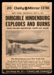 1954 Topps Scoop #20   Dirigible Hindenburg Burns  Back Thumbnail