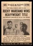 1954 Topps Scoop #65 xCOA  -  Rocky Marciano KOs Walcott  Back Thumbnail