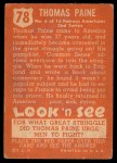 1952 Topps Look 'N See #78  Thomas Paine  Back Thumbnail