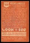1952 Topps Look 'N See #108  Michelangelo  Back Thumbnail