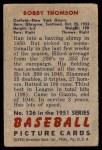 1951 Bowman #126  Bobby Thomson  Back Thumbnail