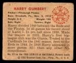 1950 Bowman #171  Harry Gumbert  Back Thumbnail
