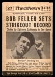 1954 Topps Scoop #27 xCOA  -  Bob Feller Bob Feller Strikeout King Back Thumbnail