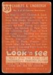 1952 Topps Look 'N See #30  Charles Lindbergh  Back Thumbnail