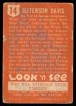 1952 Topps Look 'N See #14  Jefferson Davis  Back Thumbnail