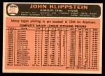 1966 Topps #493  Johnny Klippstein  Back Thumbnail