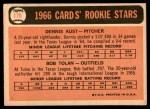 1966 Topps #179   -  Bobby Tolan / Dennis Aust Cardinals Rookies Back Thumbnail