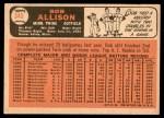 1966 Topps #345  Bob Allison  Back Thumbnail