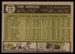 1961 Topps #272  Tom Morgan  Back Thumbnail