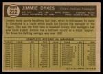 1961 Topps #222  Jimmy Dykes  Back Thumbnail