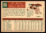 1959 Topps #105  Lee Walls  Back Thumbnail