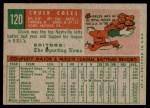 1959 Topps #120  Chuck Coles  Back Thumbnail