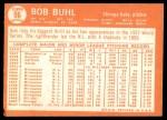 1964 Topps #96  Bob Buhl  Back Thumbnail