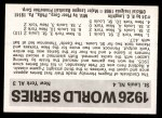1971 Fleer World Series #24   -  Rogers Hornsby 1926 Cardinals / Yankees Back Thumbnail