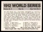 1971 Fleer World Series #10   1912 Red Sox / Giants Back Thumbnail