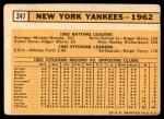 1963 Topps #247   Yankees Team Back Thumbnail