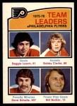 1976 O-Pee-Chee NHL #391   -  Reggie Leach / Bobby Clarke / Dave Schultz / Bill Barber Flyers Leaders Front Thumbnail