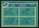 1976 O-Pee-Chee NHL #388   -  Guy Lafleur / Peter Mahovlich / Doug Risebrough Canadiens Leaders Back Thumbnail