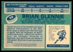 1976 O-Pee-Chee NHL #99  Brian Glennie  Back Thumbnail