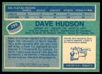 1976 O-Pee-Chee NHL #299  Dave Hudson  Back Thumbnail
