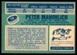 1976 O-Pee-Chee NHL #15  Peter Mahovlich  Back Thumbnail