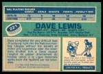 1976 O-Pee-Chee NHL #221  Dave Lewis  Back Thumbnail