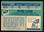 1976 O-Pee-Chee NHL #69  Ron Low  Back Thumbnail