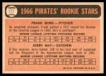 1966 Topps #123   -  Jerry May / Frank Bork Pirates Rookies Back Thumbnail