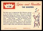 1960 Fleer Spins and Needles #14  The Goofers  Back Thumbnail