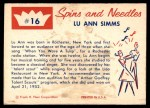 1960 Fleer Spins and Needles #16  Lu Ann Simms  Back Thumbnail