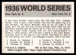 1971 Fleer World Series #34   1936 Yankees / Giants  Back Thumbnail