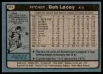 1980 Topps #316  Bob Lacey  Back Thumbnail